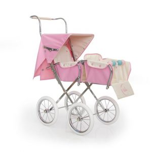 Bebelux Paris Pink Twin Reborn Doll Pushchair