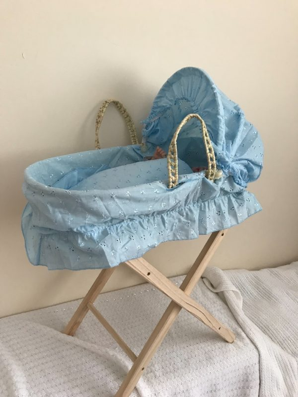 Boy Reborn Doll Moses Basket and Stand